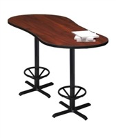 "Mayline Bistro Bar-Height Peanut-Shape Table 72"" x 30"" - Black Base - Thermally Fused Laminate (TPL)"