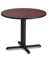 "Mayline Bistro Dining Round Table 36"" - Black Iron Base - High Pressure Laminate (HPL), Knife Edge"
