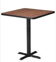 "Mayline Bistro Bar-Height Square Table 36"" - Black Iron Base - High Pressure Laminate (HPL), Knife Edge"