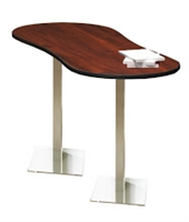 "Mayline Bistro Bar-Height Peanut-Shape Table 72"" x 30"" - Stainless Steel Base - High Pressure Laminate (HPL) - T-Mold Edge"