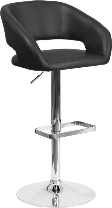 Tremendous Contemporary Black Vinyl Adjustable Height Barstool Chrome Base Pdpeps Interior Chair Design Pdpepsorg