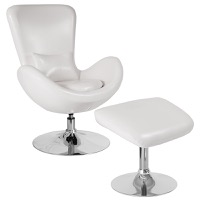 Egg Series White Leather Side Reception Chair with Ottoman