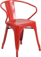Red Metal Chair with Arms
