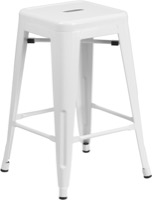 Backless White Metal Stool