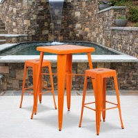 Orange Metal Bar Stool
