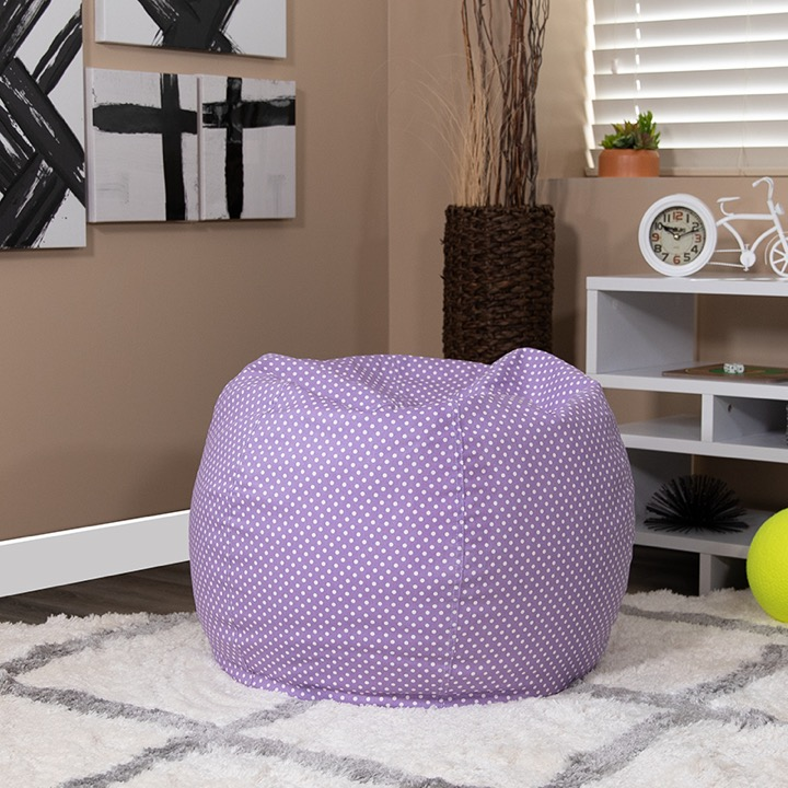 Pleasant Kids Chair Embroidered Small Bean Bags Small Lavender Dot Kids Creativecarmelina Interior Chair Design Creativecarmelinacom