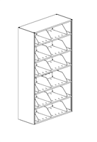 6-Tier 4-Post Shelving Unit Single Sided Closed T Adder; 24W x 12D x 65H w/ 3 Dividers Per Shelf
