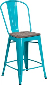 Metal/Wood Colorful Restaurant Counter Stools
