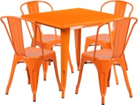 Orange Metal Indoor Table Set