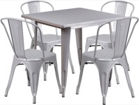 Silver Metal Indoor Table Set