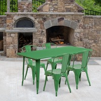 Green Metal Indoor Table Set