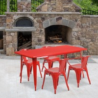 Red Metal Indoor Table Set