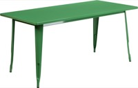 Rectangular Green Metal Table