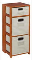 "Flip Flop 34"" Square Folding Bookcase with Folding Fabric Bins - Cherry/Natural"