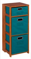 "Flip Flop 34"" Square Folding Bookcase with Folding Fabric Bins - Cherry/Teal"
