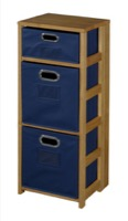 "Flip Flop 34"" Square Folding Bookcase with Folding Fabric Bins - Medium Oak/Blue"