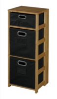 "Flip Flop 34"" Square Folding Bookcase with Folding Fabric Bins - Medium Oak/Black"