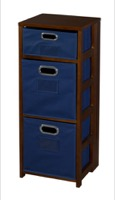 "Flip Flop 34"" Square Folding Bookcase with Folding Fabric Bins - Mocha Walnut/Blue"