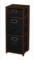 "Flip Flop 34"" Square Folding Bookcase with Folding Fabric Bins - Mocha Walnut/Black"