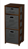 "Flip Flop 34"" Square Folding Bookcase with Folding Fabric Bins - Mocha Walnut/Grey"