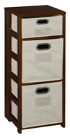 "Flip Flop 34"" Square Folding Bookcase with Folding Fabric Bins - Mocha Walnut/Natural"