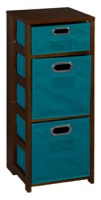 "Flip Flop 34"" Square Folding Bookcase with Folding Fabric Bins - Mocha Walnut/Teal"