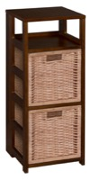 "Flip Flop 34"" Square Folding Bookcase with 2 Full Size Wicker Storage Baskets - Mocha Walnut/Natural"