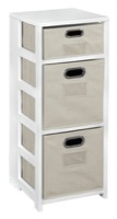 "Flip Flop 34"" Square Folding Bookcase with Folding Fabric Bins - White/Natural"