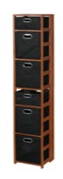 "Flip Flop 67"" Square Folding Bookcase with Folding Fabric Bins - Cherry/Black"