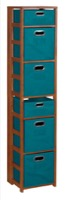 "Flip Flop 67"" Square Folding Bookcase with Folding Fabric Bins - Cherry/Teal"