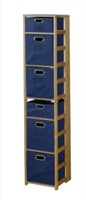 "Flip Flop 67"" Square Folding Bookcase with Folding Fabric Bins - Medium Oak/Blue"