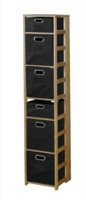 "Flip Flop 67"" Square Folding Bookcase with Folding Fabric Bins - Medium Oak/Black"
