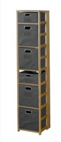"Flip Flop 67"" Square Folding Bookcase with Folding Fabric Bins - Medium Oak/Grey"