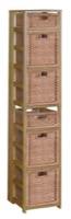 "Flip Flop 67"" Square Folding Bookcase with Wicker Storage Baskets - Medium Oak/Natural"
