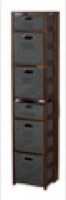 "Flip Flop 67"" Square Folding Bookcase with Folding Fabric Bins - Mocha Walnut/Grey"