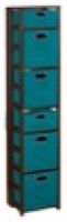 "Flip Flop 67"" Square Folding Bookcase with Folding Fabric Bins - Mocha Walnut/Teal"