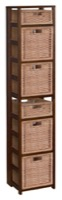 "Flip Flop 67"" Square Folding Bookcase with Wicker Storage Baskets - Mocha Walnut/Natural"