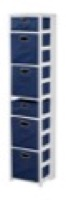 "Flip Flop 67"" Square Folding Bookcase with Folding Fabric Bins - White/Blue"