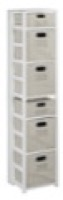 "Flip Flop 67"" Square Folding Bookcase with Folding Fabric Bins - White/Natural"