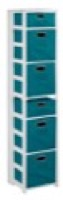 "Flip Flop 67"" Square Folding Bookcase with Folding Fabric Bins - White/Teal"