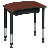 "Ferris 26"" x 24"" Height Adjustable Student Desk with Book Storage - Cherry"