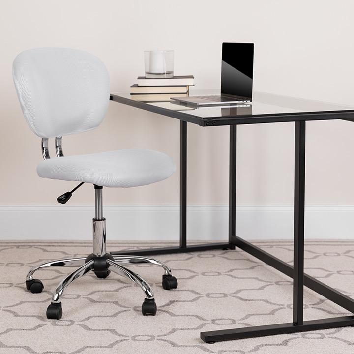 Mid-Back Orange Mesh Task Chair w//Arms /& Chrome Base