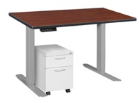 "Esteem 42"" Height Adjustable Power Desk with Single White Mobile Pedestal - Cherry/Grey"