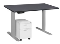 "Esteem 42"" Height Adjustable Power Desk with Single White Mobile Pedestal - Grey/Grey"
