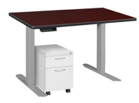 "Esteem 42"" Height Adjustable Power Desk with Single White Mobile Pedestal - Mahogany/Grey"