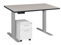 "Esteem 42"" Height Adjustable Power Desk with Single White Mobile Pedestal - Maple/Grey"