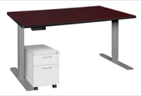 "Esteem 60"" Height Adjustable Power Desk with Single White Mobile Pedestal - Mahogany/Grey"
