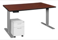 "Esteem 66"" Height Adjustable Power Desk with Single White Mobile Pedestal - Cherry/Grey"