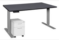 "Esteem 66"" Height Adjustable Power Desk with Single White Mobile Pedestal - Grey/Grey"