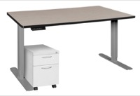 "Esteem 66"" Height Adjustable Power Desk with Single White Mobile Pedestal - Maple/Grey"